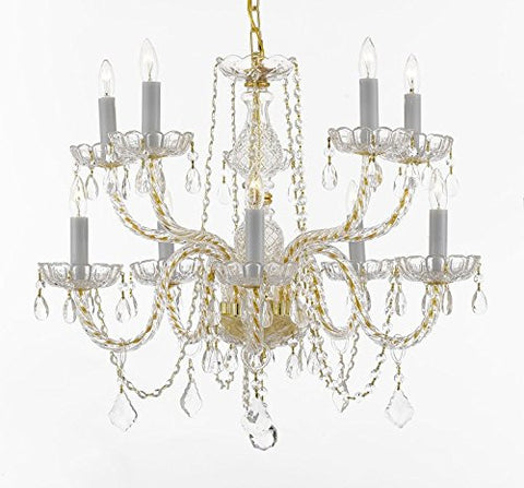 "Crystal Chandelier Lighting 10 Lights H25"" X Wd 24"" Ceiling Fixture Pendant Lamp New Chandeliers Murano - 1122/5+5 GD W/C - Limited qty available at this SPECIAL price"