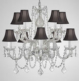 "Swarovski Crystal Trimmed Chandelier Crystal Chandelier Lighting With Black Shades H 25"" X W 24"" Swag Plug In-Chandelier W/ 14' Feet Of Hanging Chain And Wire - G46-B15/Blackshades/Cs/1122/5+5 Sw"