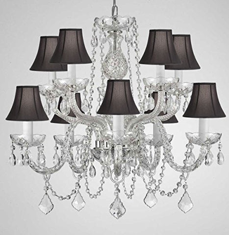 "Swarovski Crystal Trimmed Chandelier! Crystal Chandelier Lighting With Black Shades H 25"" X W 24"" Swag Plug In-Chandelier W/ 14' Feet Of Hanging Chain And Wire! - G46-B15/Blackshades/Cs/1122/5+5"