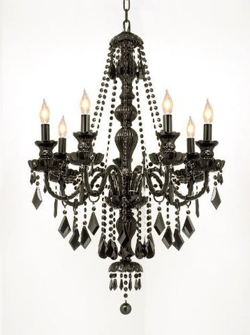 "New! Jet Black Gothic Crystal Chandelier Lighting H37"" X W26""! - G46-Black/Sm/490/7"
