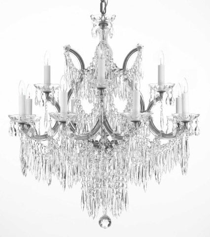 "Chandelier U Drops Crystal Chandeliers Waterfall Lighting H30"" X W28"" - F83-Silver/U/21532/12+1"