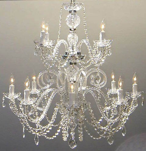"Authentic All Crystal Chandelier H30"" X W28"" - Go-A46-385/8+4"