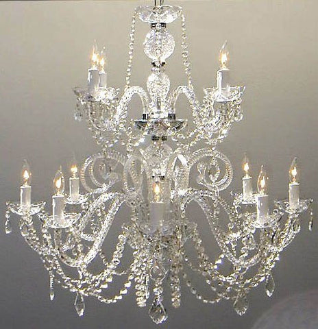 "Petite French Chandelier With Swarovski Crystal H30"" X W28"" - Go-A46-385/8+4Sw"