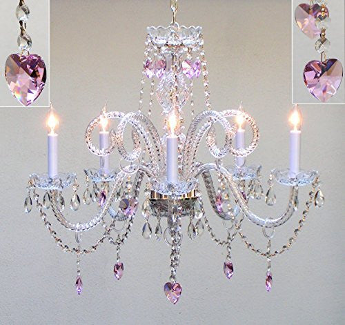 "Swarovski Crystal Trimmed Chandelier Chandelier Lighting With Pink Crystal Hearts H25"" X W24"" Swag Plug In-Chandelier W/ 14' Feet Of Hanging Chain And Wire - A46-B15/Hearts/387/5/Pink Sw"