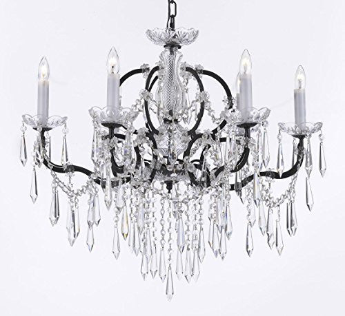 "Nineteenth C. Rococo Iron & Crystal Chandelier Lighting H 25"" X W 26"" - G83-B27/994/6"