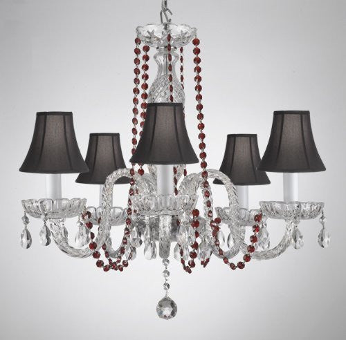 Crystal Chandelier Lighting With Red Color Crystal & Shades - A46-Redb1/Blackshades/384/5