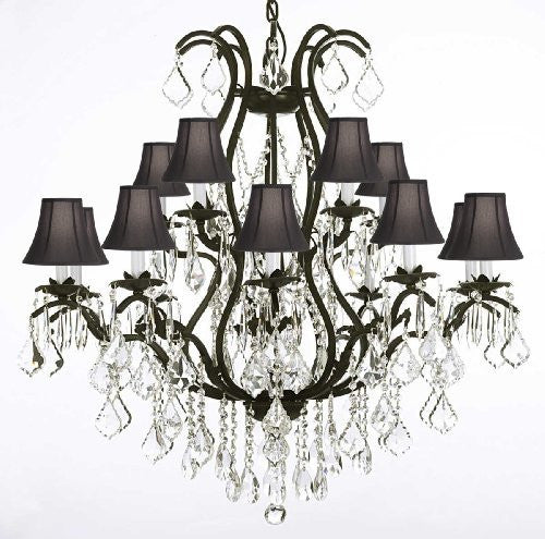 "Wrought Iron Chandelier Crystal Chandeliers Lighting H36"" X W36"" With Shades! - A83-Blackshades/3034/10+5"