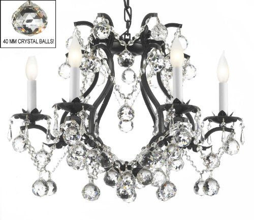 "Black Wrought Iron Crystal Chandelier Lighting H 19"" W 20"" Dressed With Feng Shui 40Mm Crystal Balls - A83-B6/3530/6"