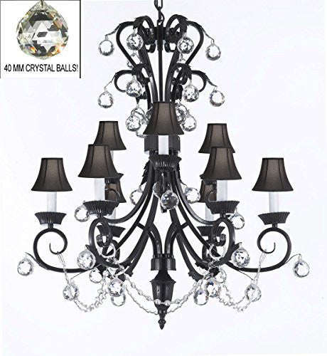 "Foyer / Entryway Wrought Iron Empress Crystal (Tm) Chandelier 30"" Inches Tall With Crystal Balls With Black Shades H 30"" X W 26"" - A84-Blackshades/B6/724/6+3"