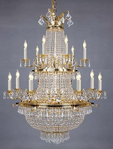 "French Empire Crystal Chandelier Lighting Gold H50"" X W30"" - Perfect For An Entryway Or Foyer - A81-1287/14+11"