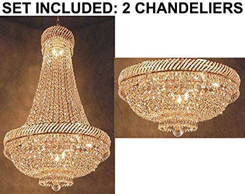 "Set of 2-1 French Empire Crystal Chandelier Chandeliers Lighting H46"" X W23"" and 1 French Empire Crystal Chandelier Lighting H 16"" W 23"" - 1EA C7/CG/448/9+ 1EA FLUSH/448/9"