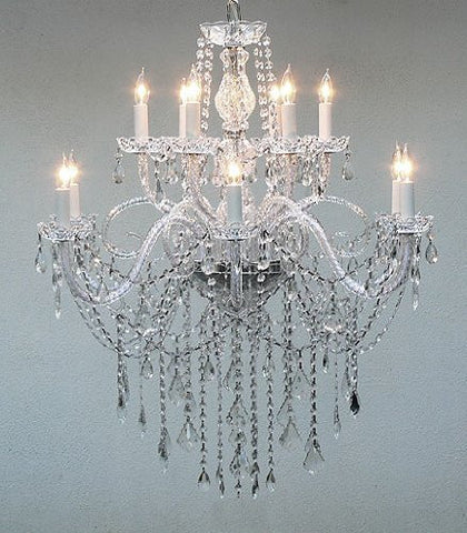 "Authentic All Crystal Chandelier H38"" X W32"" - Go-A46-3/385/6+6"