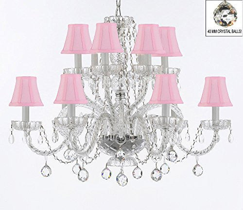 Murano Venetian Style All Empress Crystal (Tm) Chandelier With Crystal Balls And Shades - A46-B6/Sc/Pinkshades/385/6+6