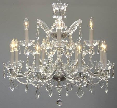 "Chandelier Crystal Lighting Chandeliers H22"" X W28"" - Go-A83-Silver/1534/12+1"