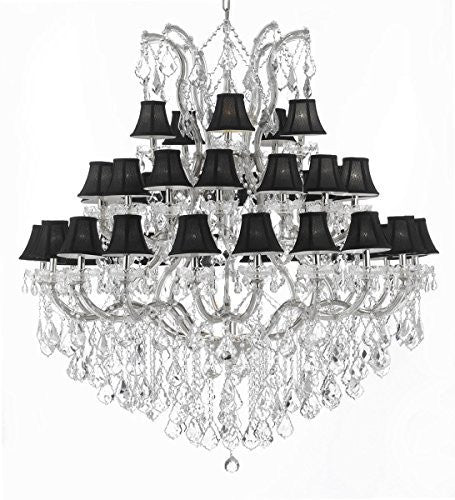 "Maria Theresa Empress Crystal (Tm) Chandelier Lighting With Black Shades H 60"" W 52"" - Cjd-Cs/Sc/2181/52"