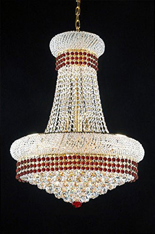 "French Empire Crystal Chandelier Chandeliers Lighting Trimmed With Ruby Red Crystal Good For Dining Room Foyer Entryway Family Room And More H32"" X W24"" - A93-B74/542/15"