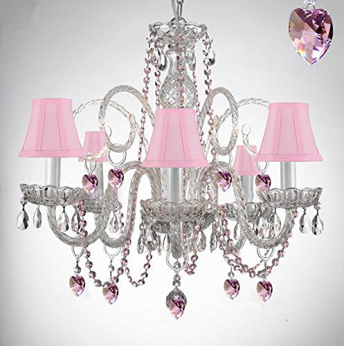 Empress Crystal (Tm) Chandelier Lighting With Pink Color Crystal And Pink Shades! - A46-B41/Sc/385/5-Pink Shades