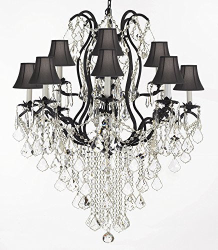 "F83-Sc/B12/3034/8+4Sw Wrought Iron Crystal Chandelier Lighting H40"" X W28"" With Shades Trimmed With Spectra (Tm) Crystal - Reliable Crystal Quality By Swarovski - F83-Sc/Blackshade/B12/3034/8+4Sw"