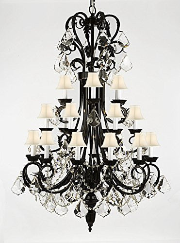 "Foyer / Entryway Wrought Iron Chandelier 50"" Inches Tall With Crystal And With White Shades H50"" X W30"" - A84-B12/Whiteshades/724/24"