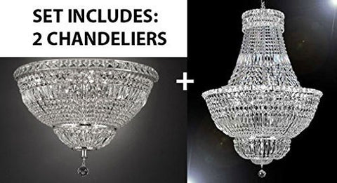 "Set Of 2 - French Empire Crystal Chandelier Lighting H36"" W30"" + Flush Basket French Empire Crystal Chandelier Lighting H22"" W30"" - Good For The Dining Room Foyer Hallway Bedroom Kitchen - 1Ea-Silver/454/14+1Ea-Flush/Cs/454/14"