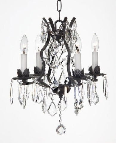 "Swarovski Crystal Trimmed Chandelier Wrought Iron Crystal Chandelier Lighting H15"" X W15"" - A83-3034/4Sw"