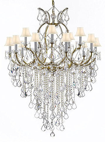 "Maria Theresa Chandelier Empress Crystal (Tm) Lighting Chandeliers H50"" X W37"" With White Shades Great For Large Foyer / Entryway - A83-B12/Sc/Whiteshades/21510/15+1"