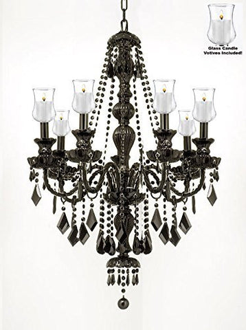 "Crystal Chandelier W/ Candle Votives H30"" W26"" - For Indoor / Outdoor Use! Great For Outdoor Events, Hang From Trees / Gazebo / Pergola / Porch / Patio / Tent ! - G46-B31/Black/Sm/490/7"