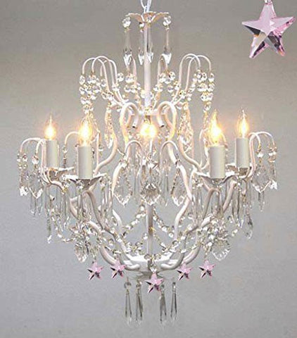 Wrought Iron & Crystal Chandelier Authentic Chandelier With Pink Stars Nursery Kids Girls Bedrooms Kitchen Etc - J10-White/B38/C/26025/5