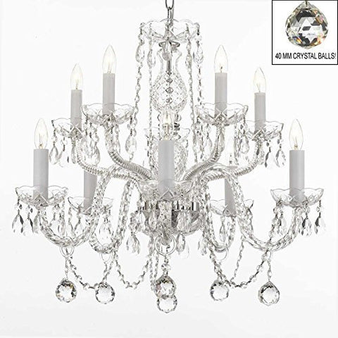Swarovski Crystal Trimmed Chandelier! All Crystal Chandelier With 40Mm Crystal Balls! - A46-B6/Cs/1122/5+5 Sw