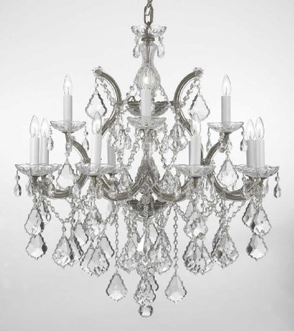 "Chandelier Lighting Crystal Chandeliers H30 ""X W28"" - F83-Silver/B7/21532/12+1"