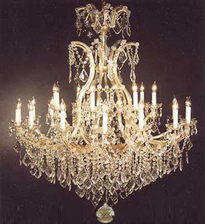 "Swarovski Crystal Trimmed Chandelier! Chandelier Crystal Chandeliers Lighting Dressed W/ Swarovski Crystal H52"" W46"" - A83-52/2Mt/24+1Sw"