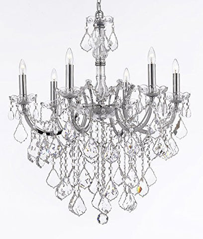"Maria Theresa Chandelier Lighting Crystal Chandeliers H30 ""X W22"" Chrome Finish Trimmed With Spectratm Crystal - Reliable Crystal Quality By Swarovski - F83-B12/Chrome/2528/6Sw"