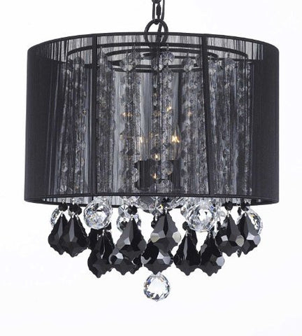 "Crystal Chandelier With Large Black Shade Jet Black Crystal Pendants And Clear Crystal 40Mm Balls H15"" X W15"" - G7-B2/Black/Sm/604/3"