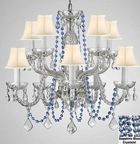 "Authentic All Crystal Chandelier Chandeliers Lighting With Sapphire Blue Crystals And White Shades Perfect For Living Room Dining Room Kitchen Kid'S Bedroom H25"" W24"" - G46-B82/Cs/Whiteshades/1122/5+5"