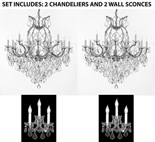 "Set Of 4 - 2 Maria Theresa Chandelier Crystal Lighting H38"" X W37"" And 2 Wall Sconce Crystal Lighting H14"" x W11.5"" Trimmed With Spectra (Tm) Crystal - Reliable Crystal Quality By Swarovski - 2Ea Cs/1/21510/15+1 2Ea Cs/3/2813Sw"