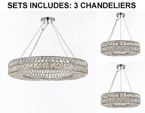 "Set of 3 -2 Crystal Spiridon Ring Chandeliers Modern/Contemporary Lt. Pendant 20""Wide & 1 Crystal Spiridon Ring Chandelier Modern/Contemporary Lt. Pendant 32""Wide-Good for Dining Room, Foyer and More! - 2EA 3063/8 + 1 EA 3063/12"