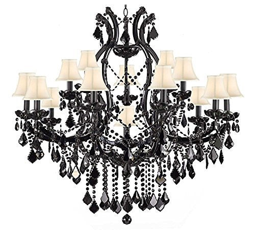 "Jet Black Chandelier Crystal Lighting Empress Crystal (Tm) Chandeliers H38"" X W37"" With White Shades - A83-Whiteshades/Black/21510/15+1"