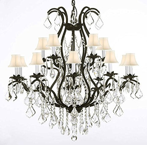 "Swarovski Crystal Trimmed Chandelier Wrought Iron Chandelier Crystal Chandeliers Lighting H36"" X W36"" With Shades - A83-Whiteshades/3034/10+5 Sw"