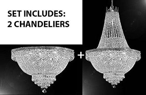 "Set Of 2 - French Empire Crystal Chandelier Lighting H30"" X W24"" + French Empire Crystal Semi Flush Basket Chandelier Lighting H18"" X W24"" - 1Ea-Silver/870/9+1Ea-Flush/Silver/870/9"