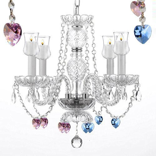 "Crystal Chandelier Lighting W/ Candle Votives H17"" W17"" - For Indoor / Outdoor Use Great For Outdoor Events Hang From Trees / Gazebo / Pergola / Porch / Patio / Tent With Blue And Pink Crystal - G46-B31/B85/B21/275/4"