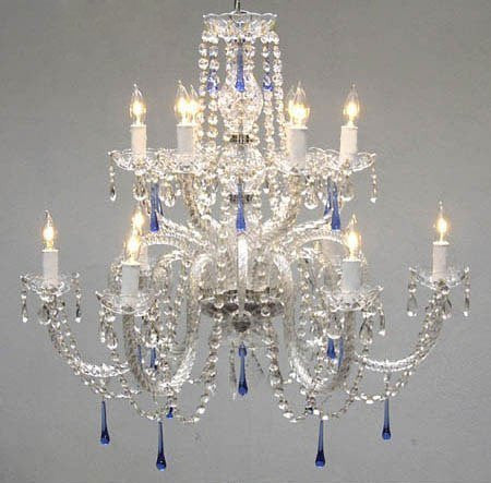 Swarovski Crystal Trimmed Chandelier Authentic All Crystal Chandelier With Blue Crystals - A46-387/6+6/Blue Sw