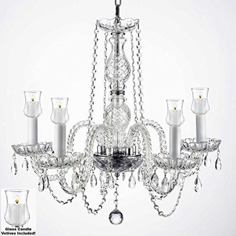"Crystal Chandelier W/ Candle Votives H.25"" W.24"" For Indoor / Outdoor Use! Great For Outdoor Events, Hang From Trees / Gazebo / Pergola / Porch / Patio / Tent ! - G46-B31/384/5"