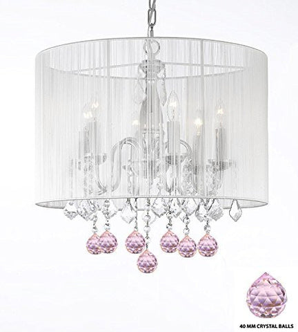 "Crystal Chandelier Chandeliers With Large White Shade And Pink Crystal Balls H 19.5"" X W 18.5"" - Perfect For Kids' And Girls Bedrooms - J10-B76/1126/6"