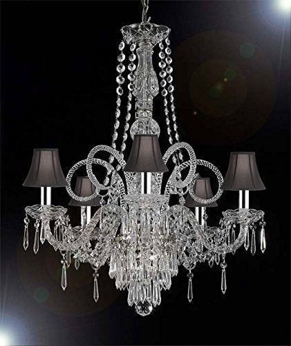 "New Crystal Chandelier Murano Venetian Style Chandeliers Lighting w/Chrome Sleeves! 24""X28"" with Black Shades! - CJD-G46-B43/BLACKSHADES/SILVER/20048/5"