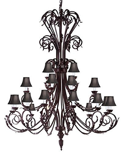 "Large Foyer / Entryway Wrought Iron Chandelier 50"" Inches Tall With Black Shades H50"" X W30"" - A83-Blackshades/724/24"