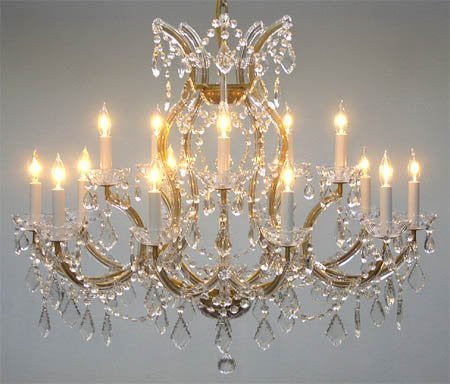 "Maria Theresa Chandelier Crystal Lighting Chandeliers Lights Fixture Pendant Ceiling Lamp For Dining Room Entryway Living Room H28"" X W37"" - A93-1514/15+1"
