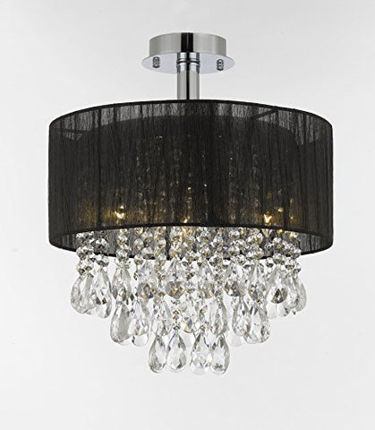 "Silver and Crystal 15""W Ceiling Light Chandelier Pendant Flush Mount with Shade - T205-01004BK-"