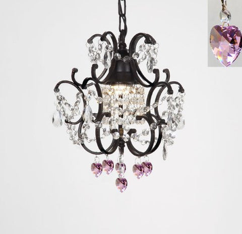 "Wrought Iron Crystal Mini Chandelier W/ Pink Crystal Hearts! H14"" X W11"" - G7-B21/592/1"