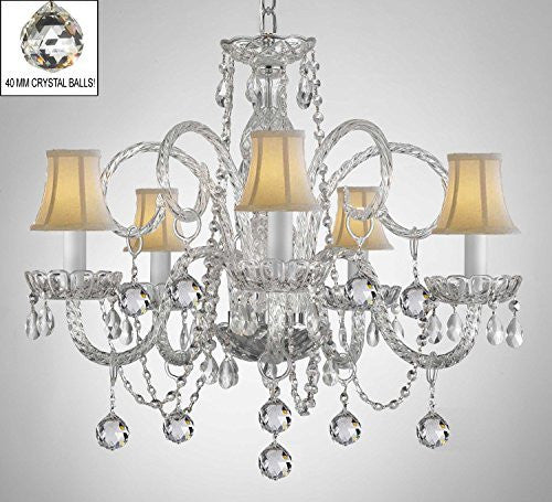 Swarovski Crystal Trimmed Chandelier Crystal Chandelier With White Shades & Crystal Balls - A46-B6/Whiteshades/385/5 Sw