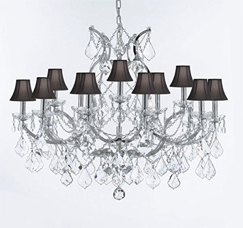 "Maria Theresa Chandelier Lighting Crystal Chandeliers H28 ""X W37"" Chrome Finish Great For The Dining Room Living Room Family Room Entryway / Foyer With Black Shades - J10-Sc/Blackshade/B62/Chrome/26050/15+1"